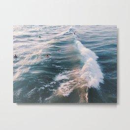 Surf at Sunset Metal Print