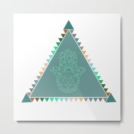 Merkaba Triangle Green Metal Print