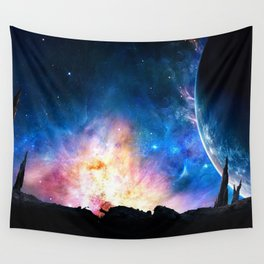 over the galaxy Wall Tapestry