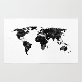 Black watercolor world map Rug
