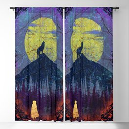 Girl and Wolf Blackout Curtain
