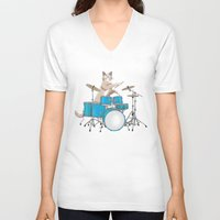 drums V-neck T-shirts featuring Cat Playing Drums - Blue by Ornaart