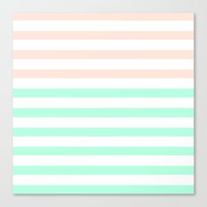 MINT & PEACH STRIPES Canvas Print