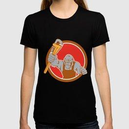 Angry Gorilla Plumber Monkey Wrench Circle Cartoon T-shirt