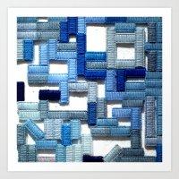 Blue Blocks Art Print