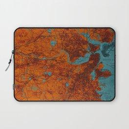 Boston 1893 old map, blue and orange artwork, cartography Laptop Sleeve
