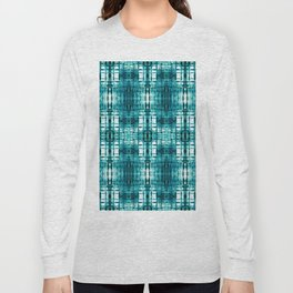 Aqua Shibori Plaid Long Sleeve T-shirt