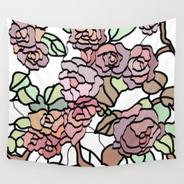 pattern of branches and roses 2 .  Pastel colors . Wall Tapestry