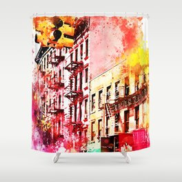 NYC Watercolor Collection - Colorful Soho Shower Curtain