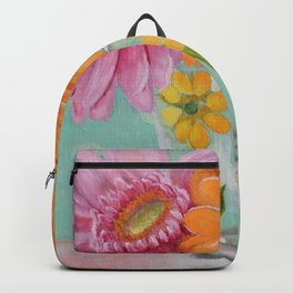 Gerber Daisy Retro Glass Painting Backpack