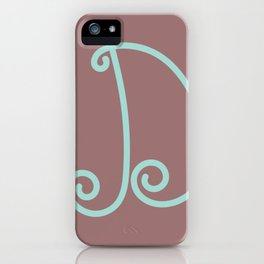 Hand-Drawn Mint Blue Letter D Throw Pillow iPhone Case
