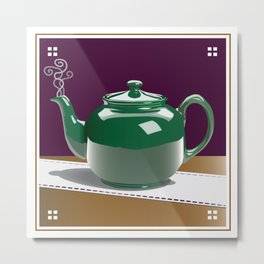 Green Tea Pot Metal Print