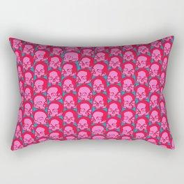 Funky Skulls PINK / Line art skull graphic Rectangular Pillow