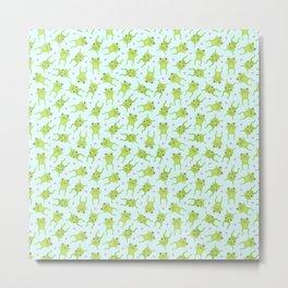 Kawaii Happy Frogs on Blue Metal Print