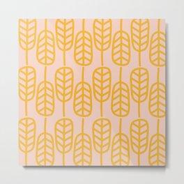 Feather Leaves Minimalist Pattern in Mustard Orange and Millennial Pink Metal Print