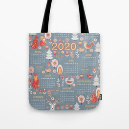 Calendar for 2020 in a scandinavian folk style. Tote Bag