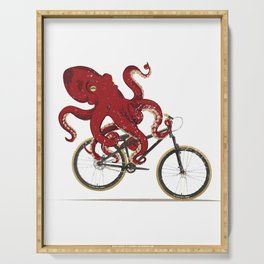Cycling Octopus Bicycle Enthusiast Invertebrate Steampunk Bike Graphic T Shirt Serving Tray