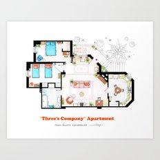 Floorplan of Three's Company Apartment Art Print
