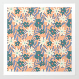 Just Peachy Floral Art Print