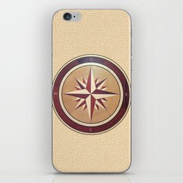Wind rose drawn on a wooden surface iPhone Skin