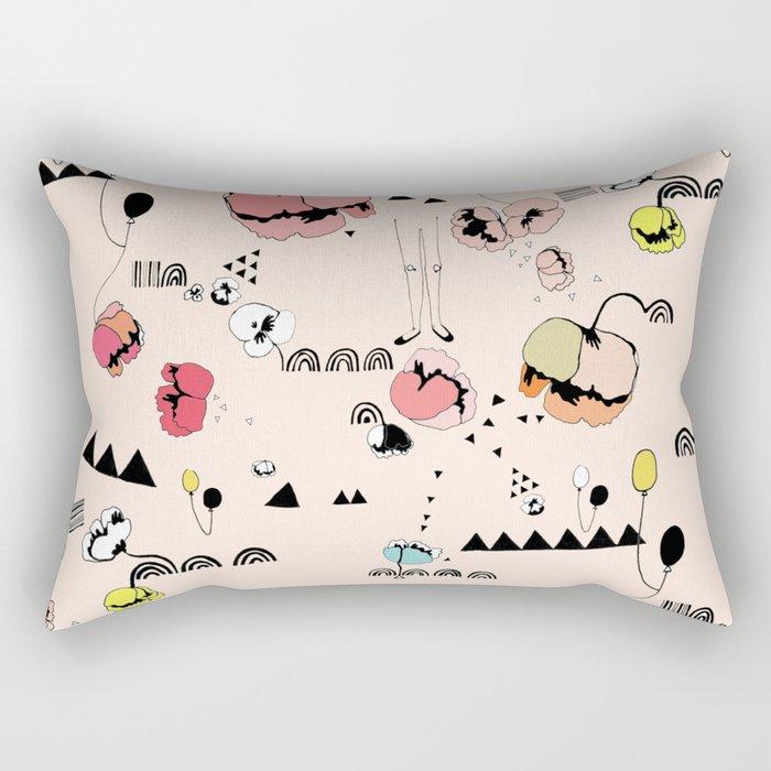 Poppies Print Rectangular Pillow