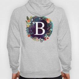 Personalized Monogram Initial Letter B Floral Wreath Artwork Hoody