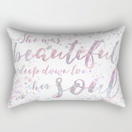 """""""She was beautiful"""" quote in watercolour paint Rectangular Pillow"""