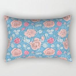 Roses Blue Pink Rectangular Pillow