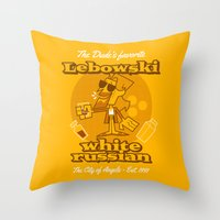 the big lebowski Throw Pillows featuring The Big Lebowski by Giovanni Costa
