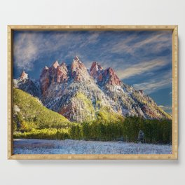 Colorado Rocky Mountain First Snow Maroon Bells Serving Tray