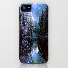 A Cold Winters Night : Violet Teal Green Winter Wonderland iPhone Case