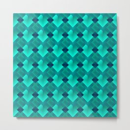 Fashionable large plaids from small light blue intersecting squares in a dark cage. Metal Print