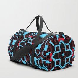 Blue Pink Techno Pattern Duffle Bag