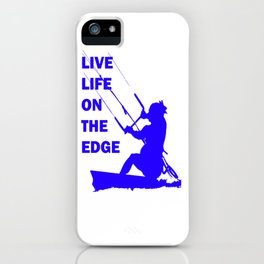 Live Life On The Edge Neon Blue Kitebeach iPhone Case