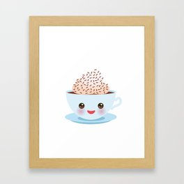 Cute blue Kawai cup, coffee with pink cheeks and winking eyes Framed Art Print