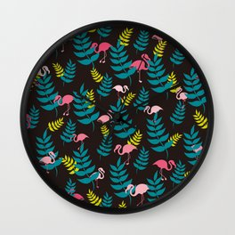Flamingo and Leaves | Black Wall Clock