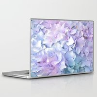 outdoor Laptop & iPad Skins featuring Soft Pastel Hydrangea by Judy Palkimas