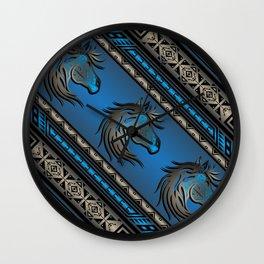Horse Nation (Blue) Wall Clock