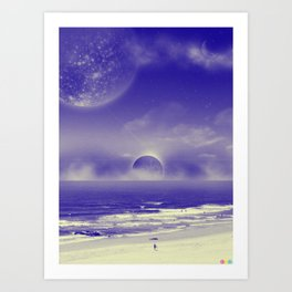 Space Beach Art Print