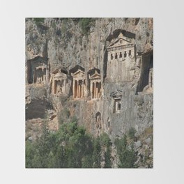 Lycian Tombs at Dalyan Close Up Throw Blanket