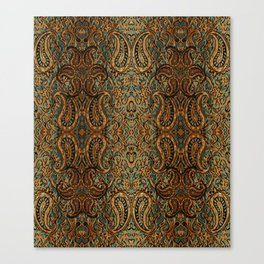 vintage persian fabric with Golden paisley Canvas Print
