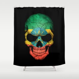 Dark Skull with Flag of Ethiopia Shower Curtain