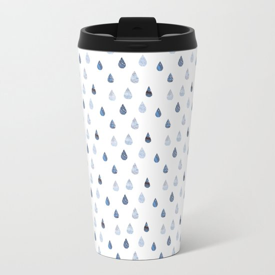 Rain drops Metal Travel Mug