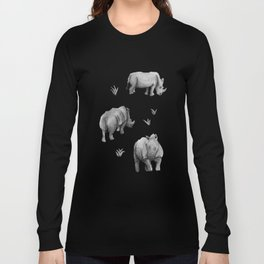 Rhino's Grazing - Black & White Long Sleeve T-shirt