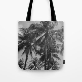 Palm Trees Black and White Photography Tote Bag