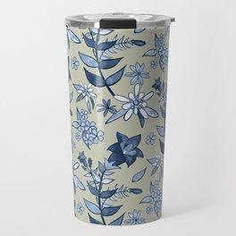 Monochrome Tan and Blue Alpine Flora Travel Mug