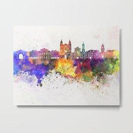 Rennes skyline in watercolor background Metal Print