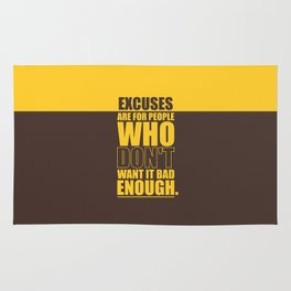 Lab No. 4 Excuses  Are For People Enough Gym Motivational Quotes Poster Rug