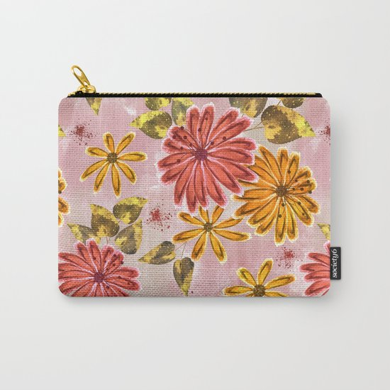 Pink, orange flowers. Carry-All Pouch