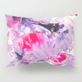 Fall in love with your life | Modern purple neon pink abstract brushstrokes acrylic painting Pillow Sham